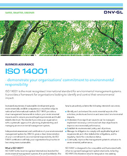 ISO 14001 certification by DNV GL